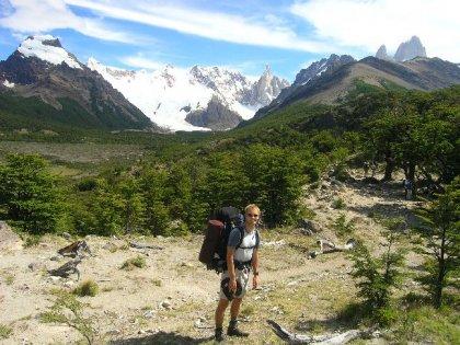 Et af verdens absolut smukkeste bjerglandskaber - t.v. Cerro Torre (3148 m) og t.h. Monte Fitz Roy (3408 m).